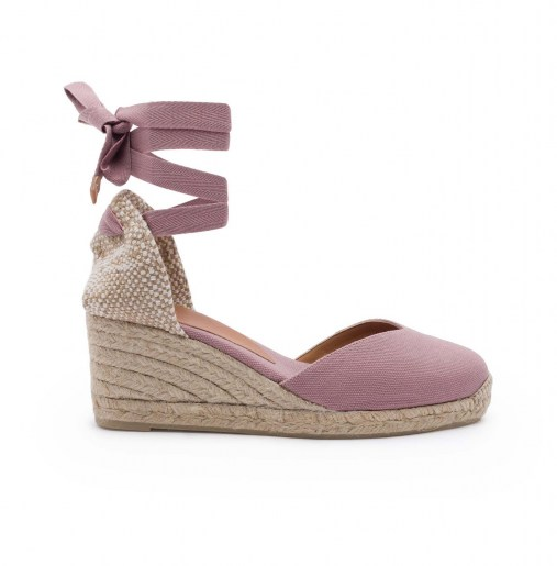 Chiara canvas wedge espadrille in mauve 7cm